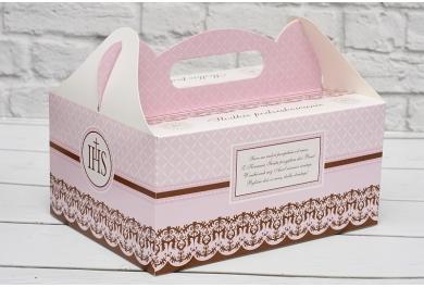 Pudełka na ciasto komunijne, różowe