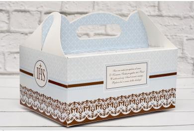 Pudełka na ciasto komunijne, błękitne