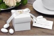 Pudełka kwadratowe na ślub, wesele + migdały