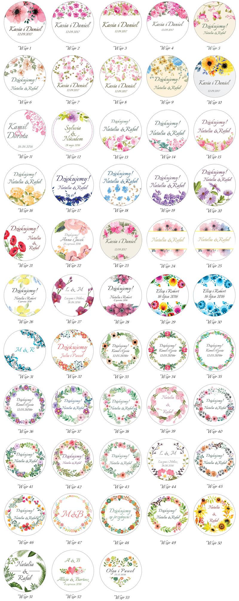 Naklejki okrągłe Kwiaty wzory do wyboru